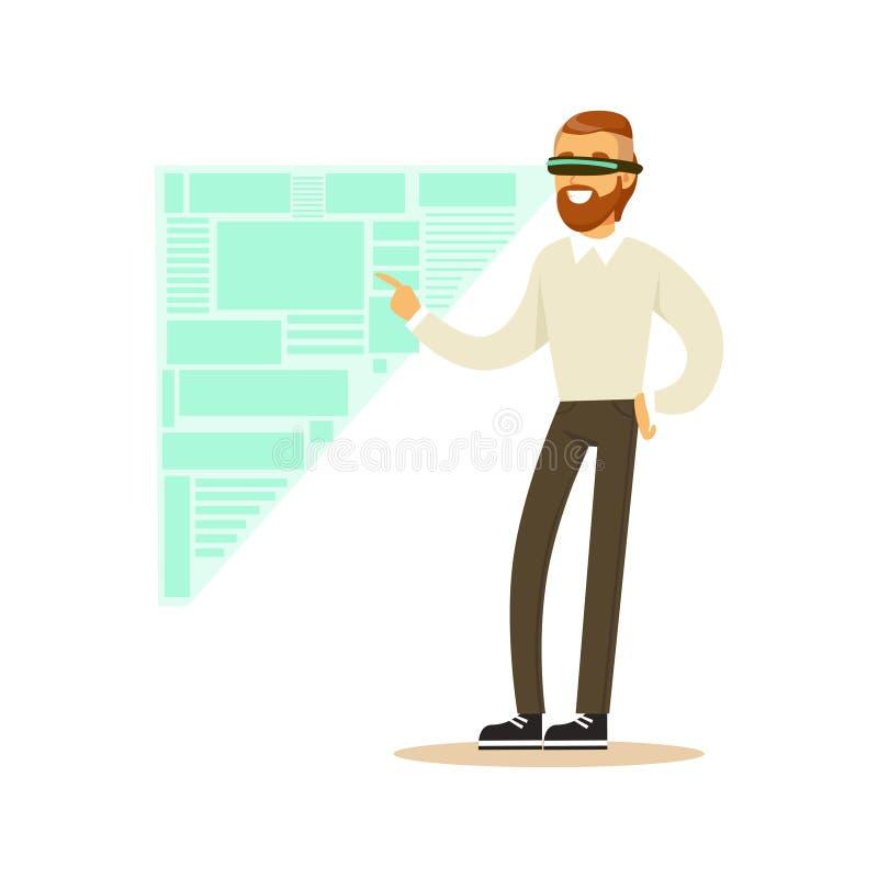 Biznesmen jest ubranym VR słuchawki pracuje w cyfrowej symulaci, analizuje rozwoje biznesu, przyszłościowy technologii pojęcie ilustracji