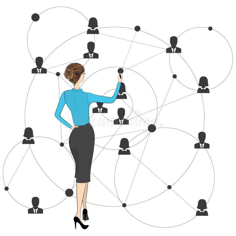 Biznesmen kobiety remisy globalnego biznesu plan, ilustracja wektor