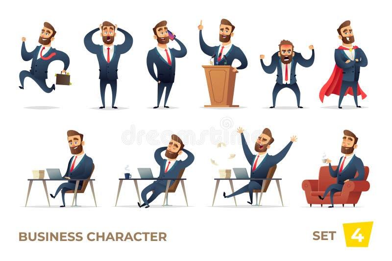 Biznesmen kolekcja Brodaci czaruje biznesowi mężczyzna w różnych sytuacjach Kierownika charakteru projekt royalty ilustracja