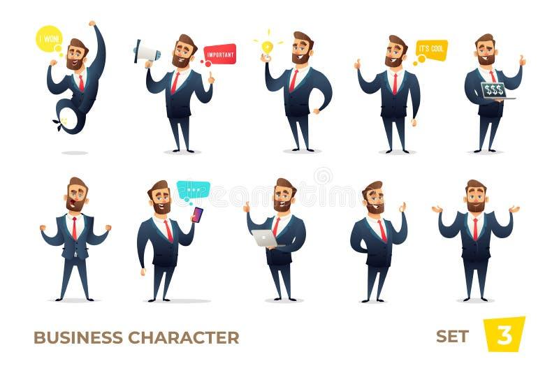 Biznesmen kolekcja Brodaci czaruje biznesowi mężczyzna w różnych sytuacjach Nowożytny charakteru projekt ilustracji