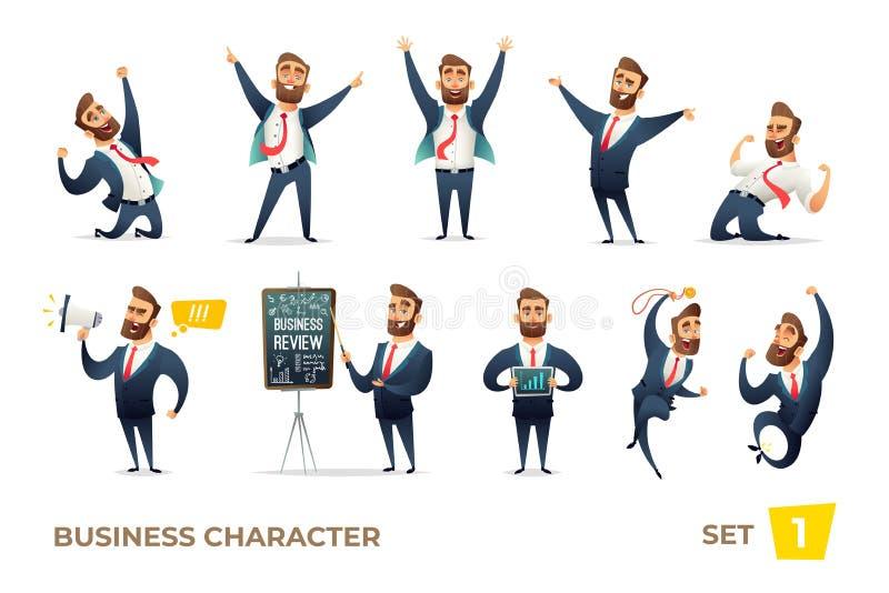 Biznesmen kolekcja Brodaci czaruje biznesowi mężczyzna w różnych sytuacjach Nowożytny charakteru projekt ilustracja wektor