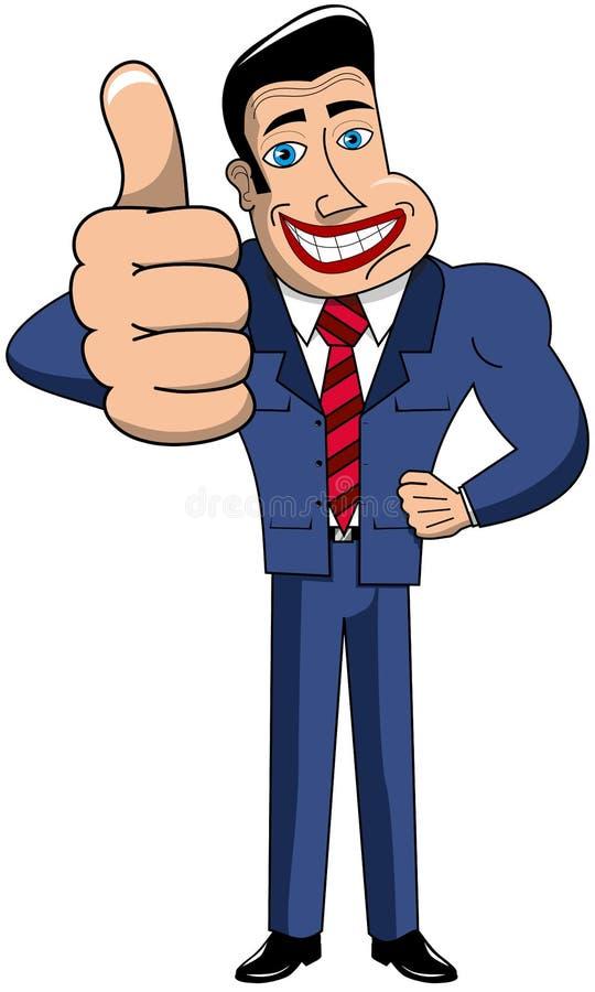 Biznesmen kreskówki kciuk Up royalty ilustracja