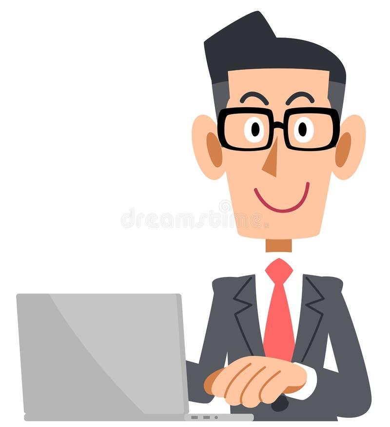 Biznesmen który jest ubranym szkła działać komputer ilustracja wektor