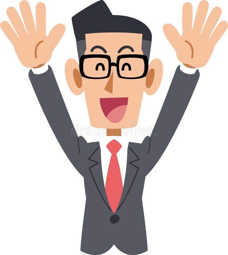 Biznesmen który jest ubranym szkła stawia up jego ręki ilustracja wektor