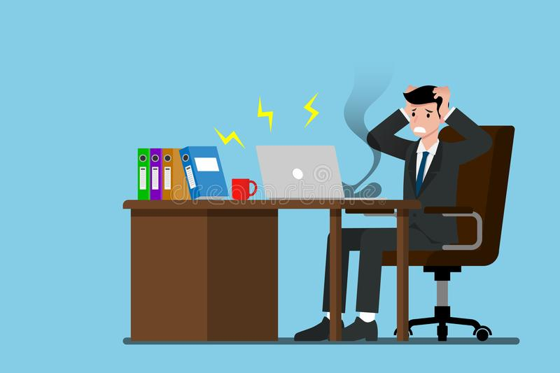 Biznesmen który no może kontynuować jego pracę ponieważ jego laptop rozbija ilustracji