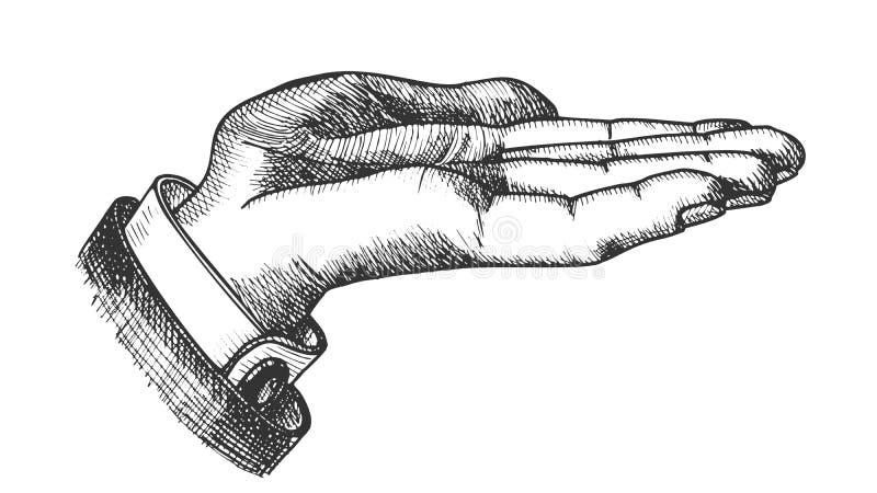 Biznesmen lewa ręka Robi gesta rocznika wektorowi royalty ilustracja