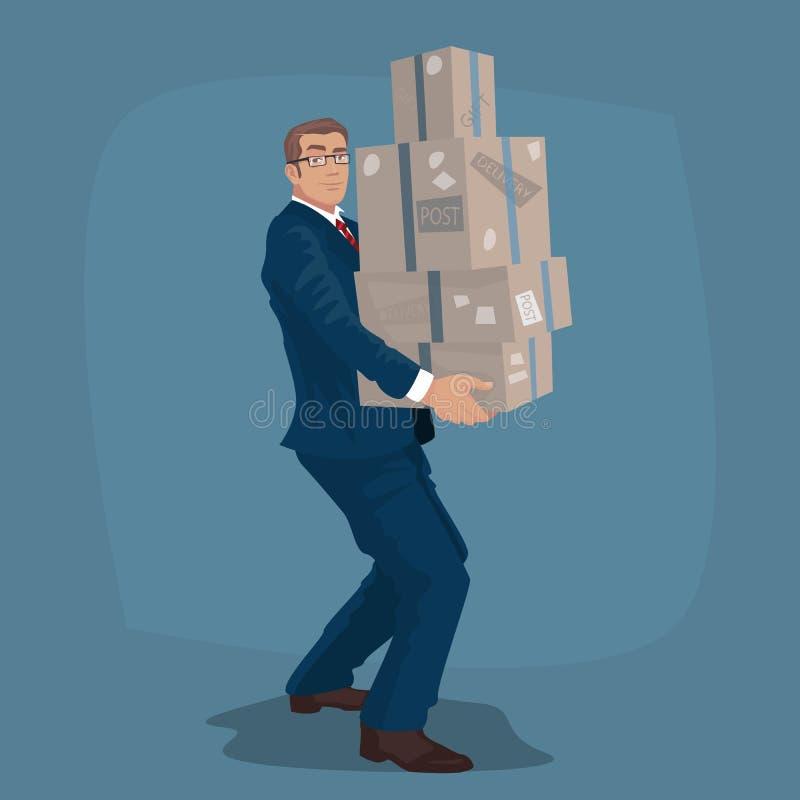 Biznesmen lub kierownik niesiemy poczta pakuneczki royalty ilustracja