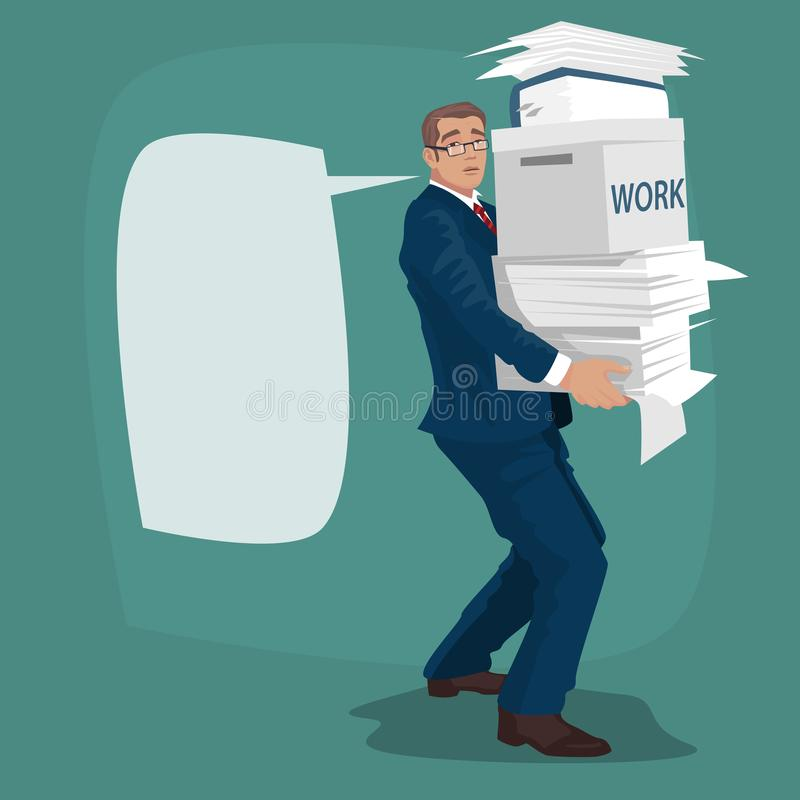 Biznesmen lub kierownik niesiemy pracujących papiery royalty ilustracja