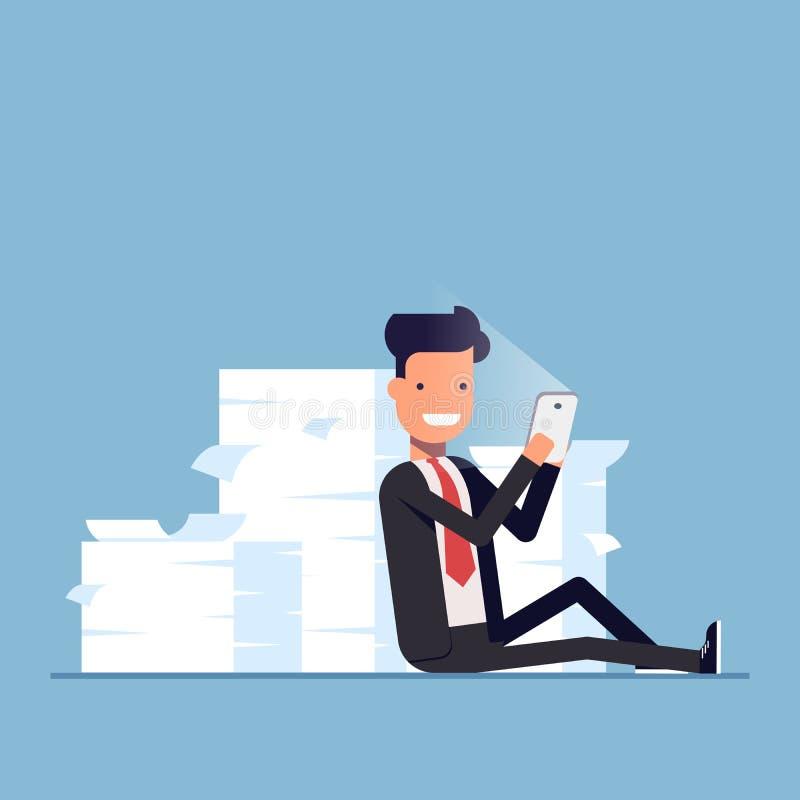 Biznesmen lub kierownik siedzimy za stosem dokumenty i mienie telefon komórkowy ilustracja wektor