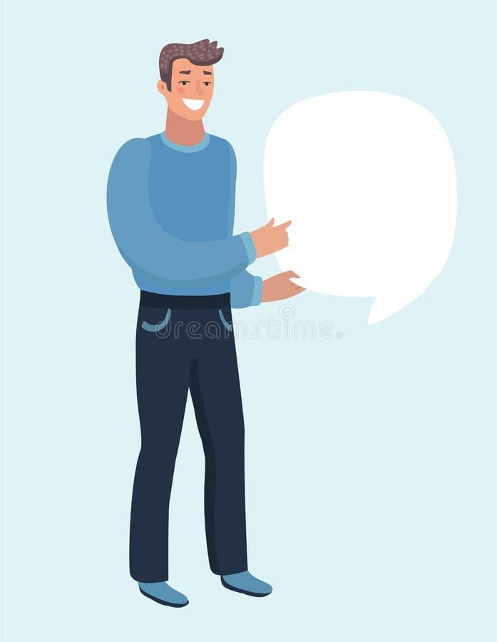 Biznesmen lub kierownik wrzeszczy mówca Mężczyzna w garniturze mówi coś znacząco Wektor, ilustracja EPS10 ilustracji