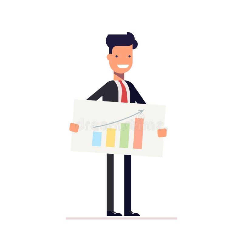 Biznesmen lub kierownik z rozkładem w rękach prezentacja Mężczyzna demonstruje najlepszy strategię wektor royalty ilustracja
