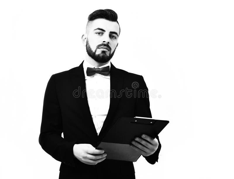 Biznesmen lub makler z ufną brodą twarz zmroku i wyrażenia obraz royalty free