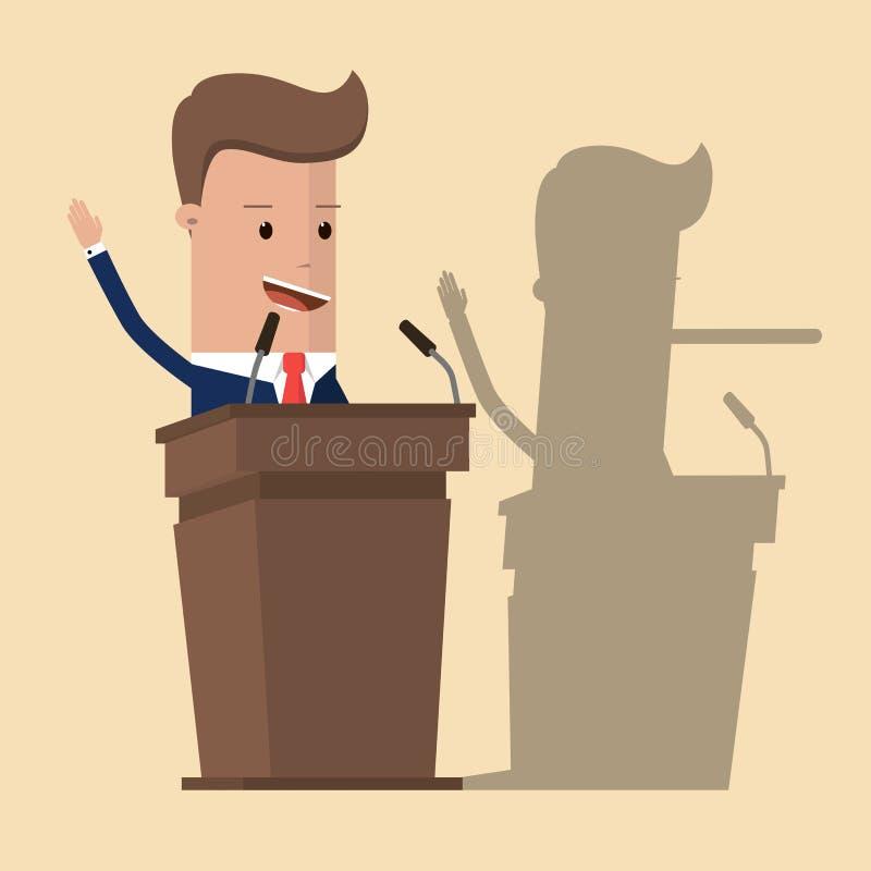 Biznesmen lub polityk w kostiumu przy trybuną z cieniem jego długi nos który jest właściwie kłamcą, Kłamca biznesmen Wektorowy il royalty ilustracja