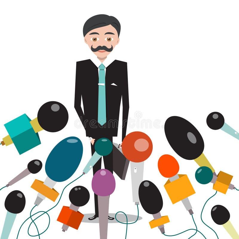 Biznesmen lub polityk z mikrofonami royalty ilustracja