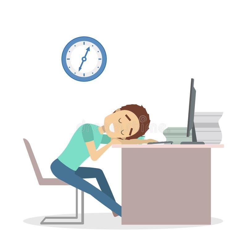 Biznesmen męczący przy biurem ilustracja wektor