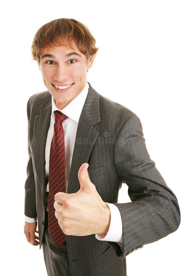 biznesmen młode kciuki w górę fotografia stock