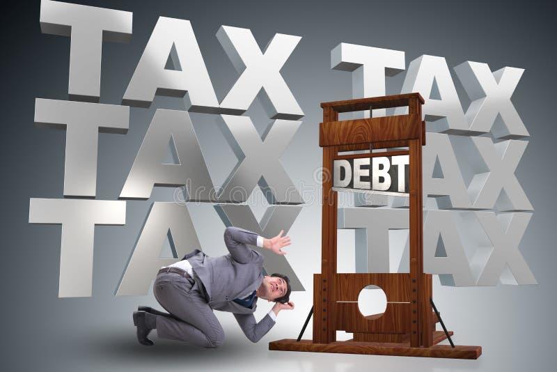 Biznesmen ma problemy z płacić podatki royalty ilustracja