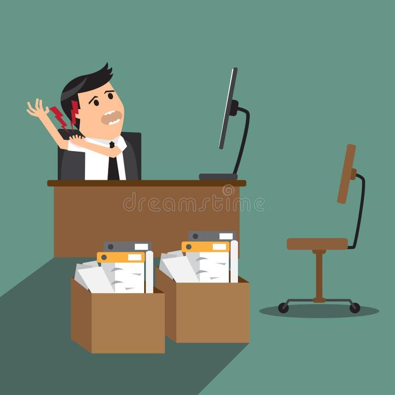 Biznesmen ma ramię ból podczas gdy pracujący przy komputerowym biurkiem ilustracja wektor