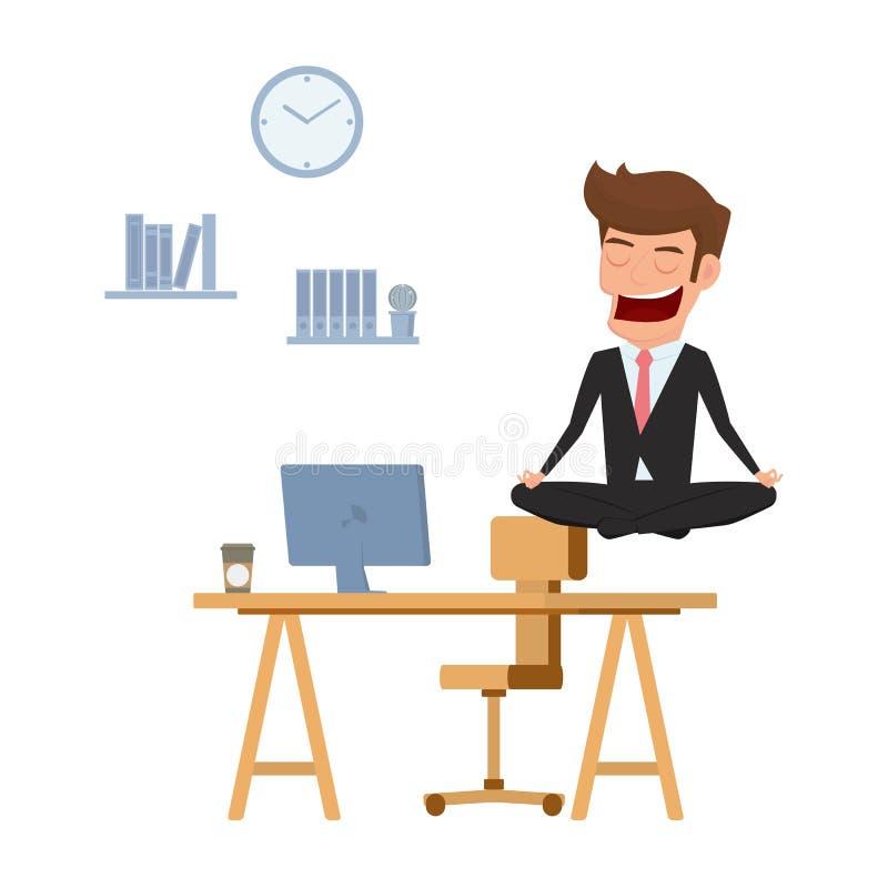 Biznesmen medytuje w pokoju nad biurowym stołem Czasu zarządzanie, stres ulga i rozwiązywań problemów pojęcia, royalty ilustracja