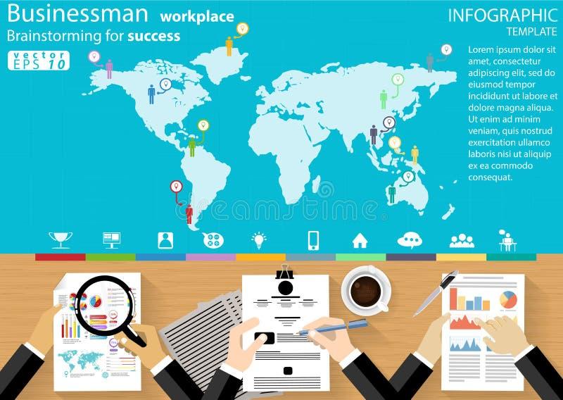 Biznesmen miejsce pracy Brainstorming dla sukcesu desing nowożytnego pomysłu i pojęcia Infographic Wektorowego ilustracyjnego  ilustracji