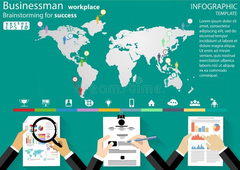 Biznesmen miejsce pracy Brainstorming dla sukcesu desing nowożytnego pomysłu i pojęcia Infographic Wektorowego ilustracyjnego  royalty ilustracja