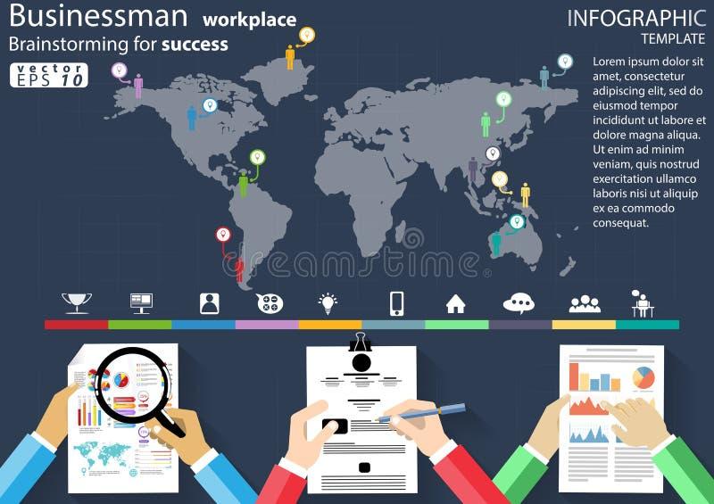 Biznesmen miejsce pracy Brainstorming dla sukcesu desing nowożytnego pomysłu i pojęcia Infographic Wektorowego ilustracyjnego  ilustracja wektor
