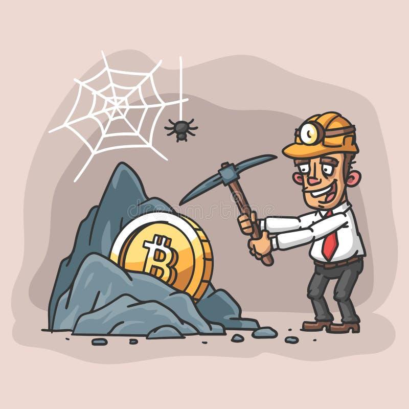 Biznesmen minuje bitcoin Ilustracji Bitcoin biznesmena mienia rockowy oskard royalty ilustracja