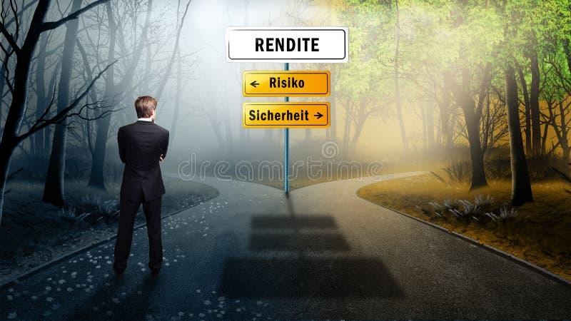 Biznesmen musi decydować między ryzykiem lub bezpieczeństwem na tematu fedrunku (w niemiec) zdjęcia royalty free