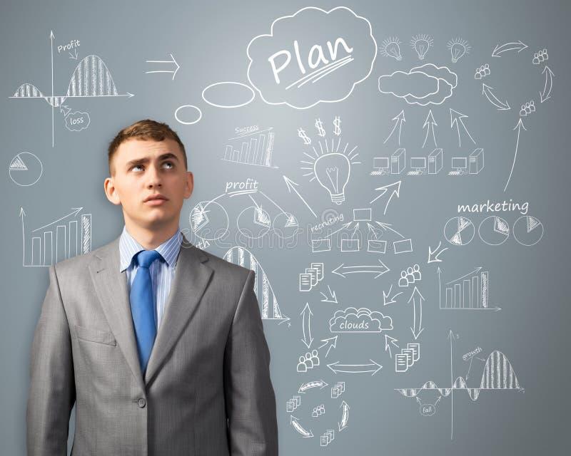 Biznesmen myśleć o innowaci w biznesie obrazy royalty free