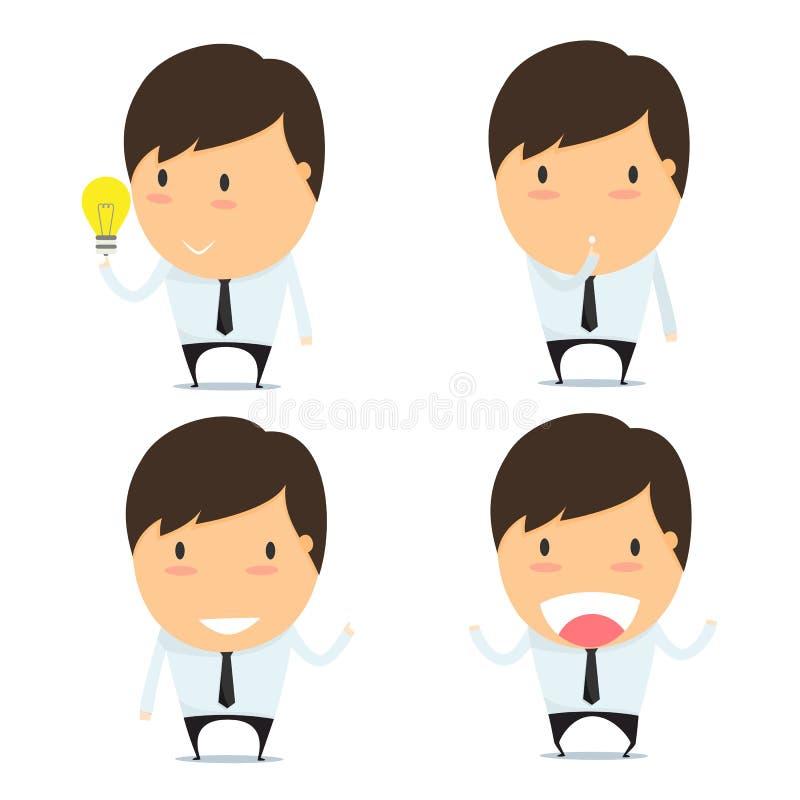 Biznesmen myśli kreskówki emoticons ilustracja wektor
