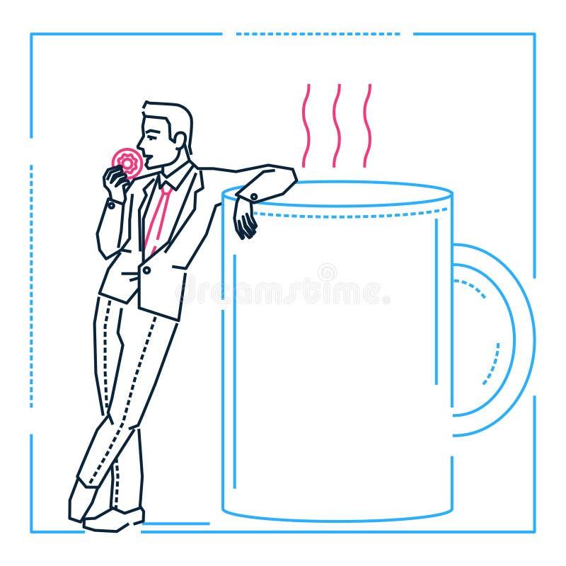 Biznesmen na kawowej przerwie - kreskowa projekta stylu ilustracja royalty ilustracja