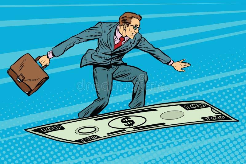 Biznesmen na latającym pieniądze dywanu samolocie royalty ilustracja