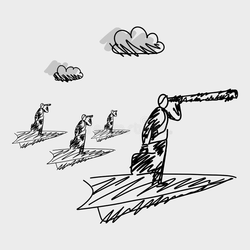 Biznesmen na papierowym samolocie z długim teleskopu searchin ilustracji
