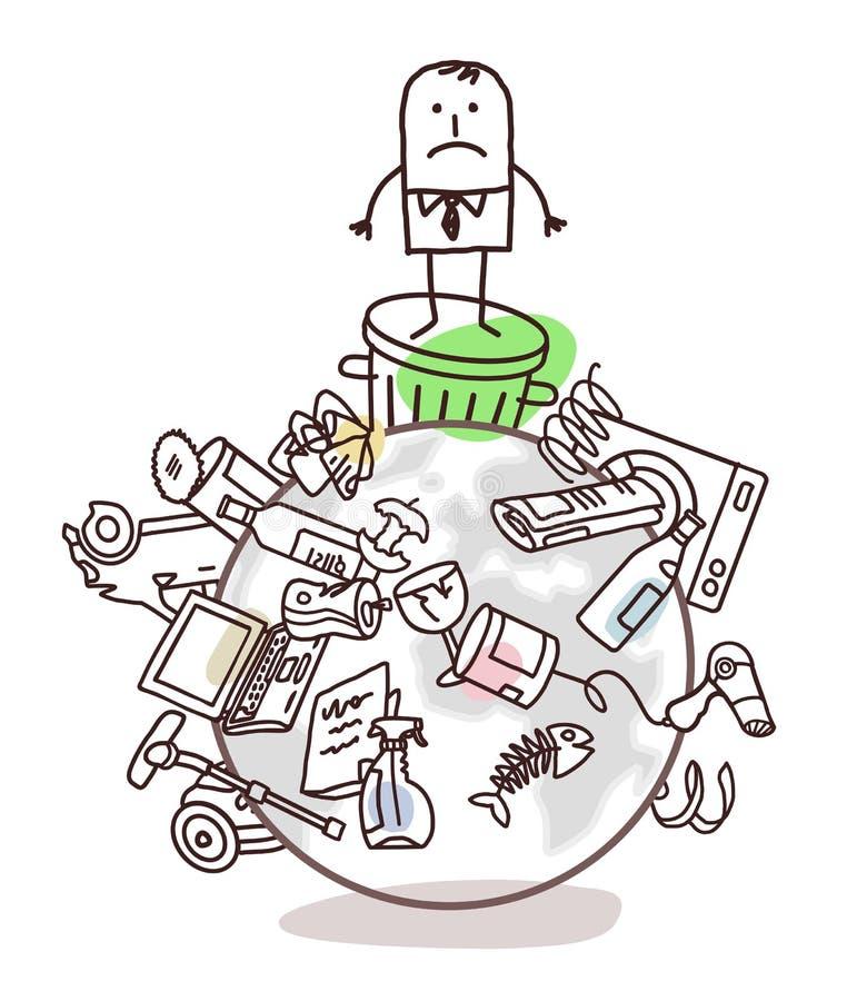 Biznesmen na zanieczyszczającym świacie ilustracja wektor