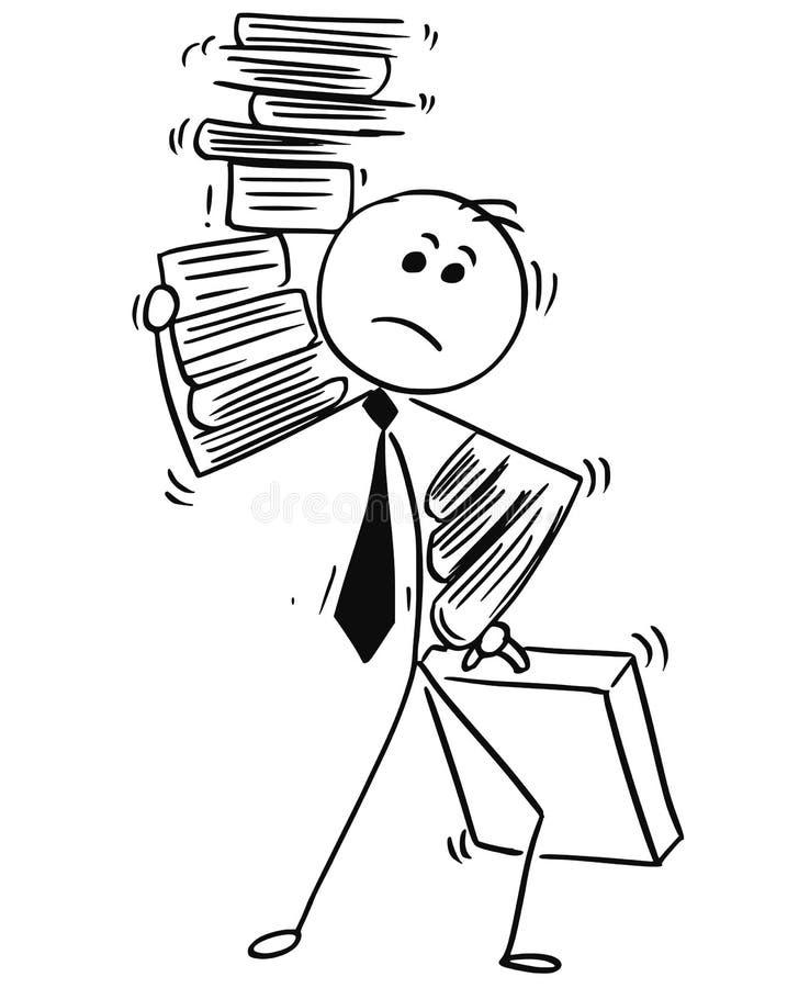 Biznesmen Niesie ładunek papierkowych robót falcówki royalty ilustracja