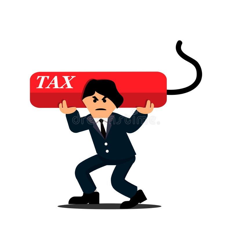 Biznesmen niesie ciężkiego długu podatek Płascy projekty ilustracja wektor