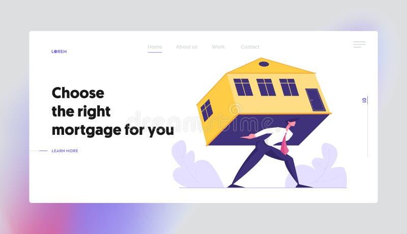 Biznesmen Niesie Ciężkiego dom, Przytłaczająca Hipoteczna strony internetowej lądowania strona, mężczyzny przewożenia dom, Real E ilustracja wektor