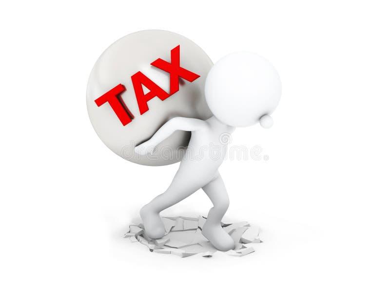 Biznesmen niesie ciężkiego podatek na plecy z ścinek ścieżką ilustracji