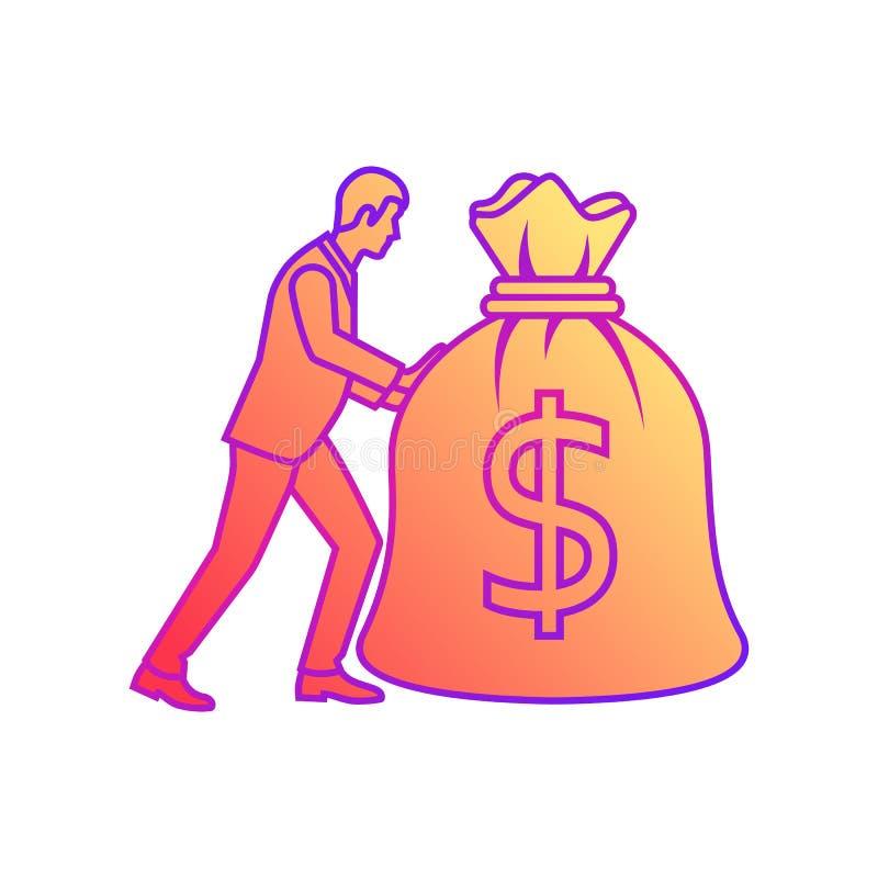 Biznesmen niesie dużą ciężką torbę pieniądze pełno ilustracja wektor