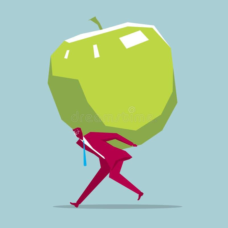 Biznesmen niesie jabłka ilustracja wektor