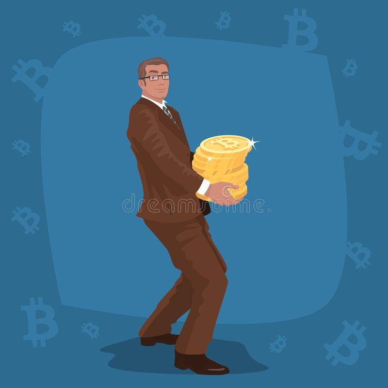 Biznesmen niesie stertę bitcoin monety royalty ilustracja