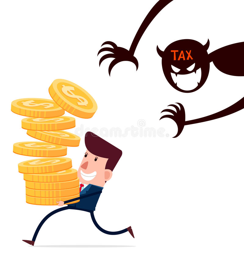 Biznesmen niesie stertę złociste monety cieszy się jego hardwork nawiedzającego podatkami ilustracja wektor