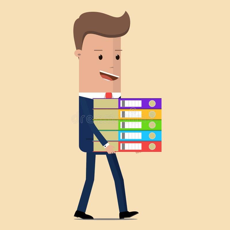 Biznesmen niesie wielką stertę dokumenty również zwrócić corel ilustracji wektora royalty ilustracja