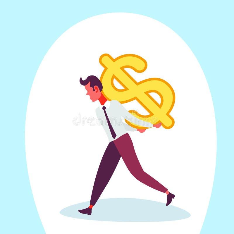 Biznesmen niesie z powrotem dolarowy męski wzrostowy postać z kreskówki odizolowywającego ikona pieniądze wymiany pojęcia bogactw ilustracja wektor