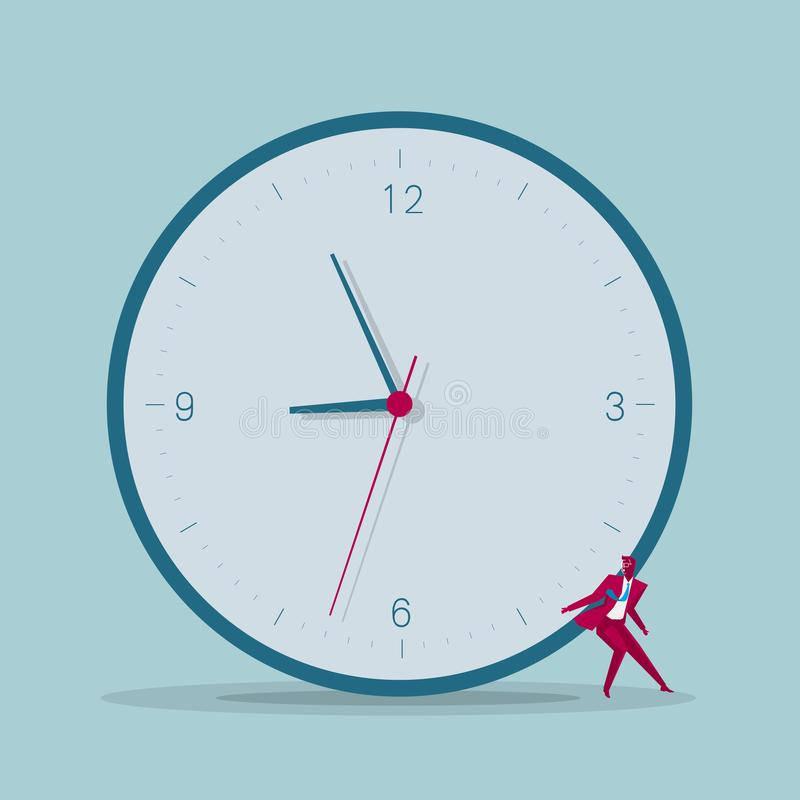 Biznesmen niesie zegar ilustracji