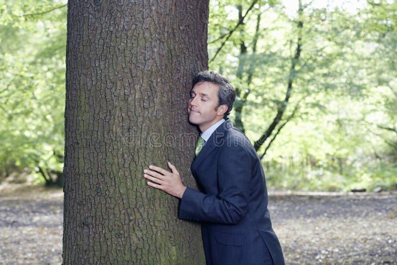 Biznesmen Obejmuje Drzewnego bagażnika W lesie fotografia royalty free