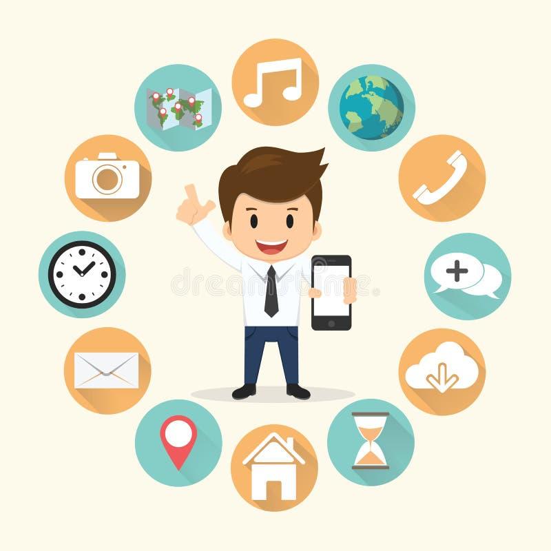 Biznesmen obwódki mobilnego zastosowania ustalona wektorowa ilustracja