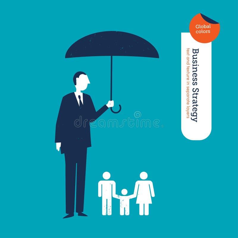 Biznesmen ochrania rodziny z parasolem ilustracji