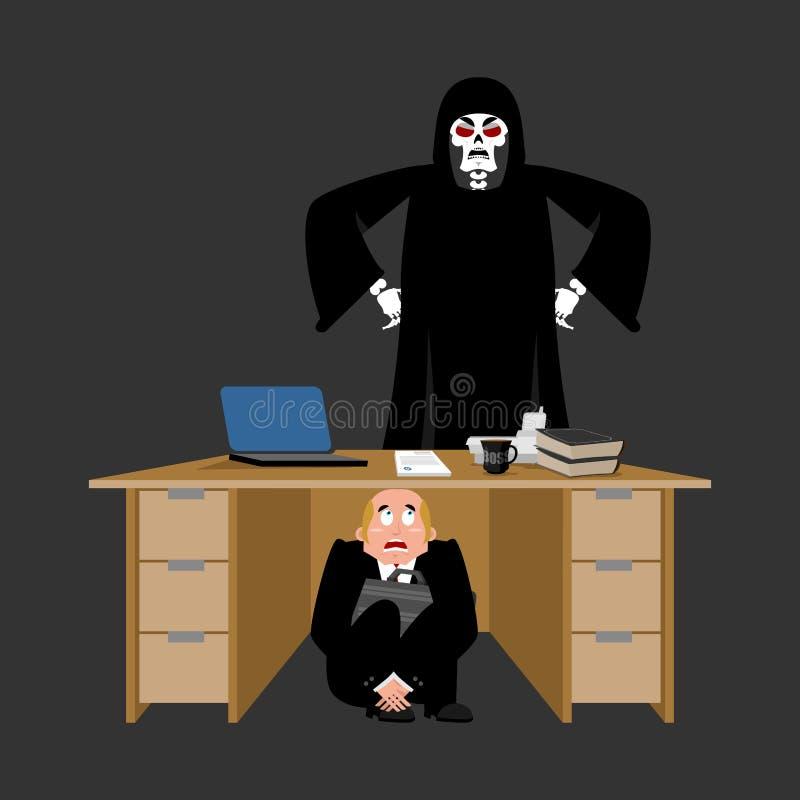 Biznesmen okaleczający pod stołem Ponura żniwiarka przelękły busine royalty ilustracja