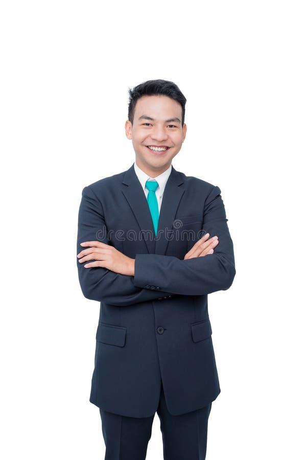 Biznesmen ono uśmiecha się nad bielem zdjęcia royalty free